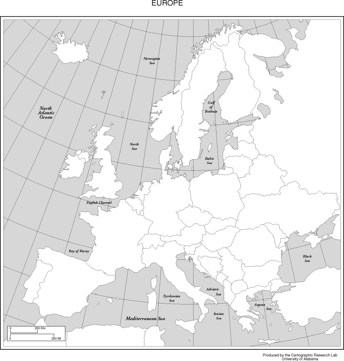 UML Course Wikis Blank map of Europe for study reference