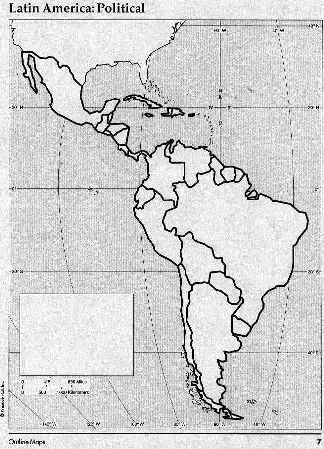 Blank map of Latin American for study reference